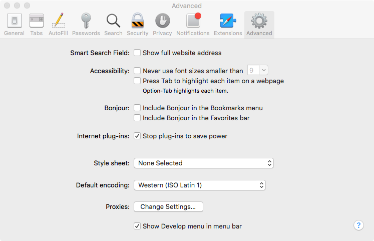 enable safari developer mode