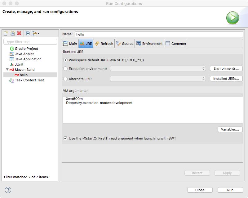 run configuration - JRE