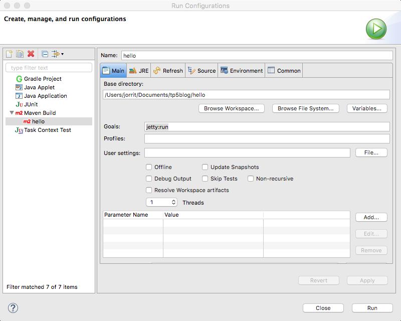 run configuration - main